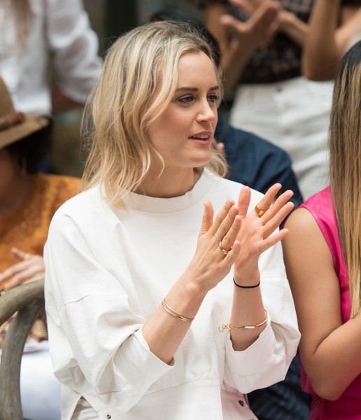 More Pics of Taylor Schilling Pumps (1 of 3) - Heels Lookbook - StyleBistro [lady,beauty,blond,hand,fashion,finger,arm,gesture,event,nail,rachel comey,taylor schilling,front row,new york city,new york fashion week,fashion show]