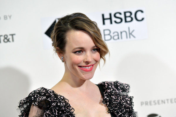 Rachel McAdams Messy Updo [hair,face,skin,facial expression,hairstyle,eyebrow,beauty,lip,shoulder,chin,rachel mcadams,disobedience,new york city,bmcc tribeca pac,tribeca film festival,premiere]