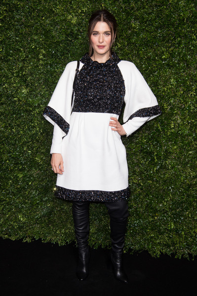 Rachel Weisz Over the Knee Boots [clothing,white,fashion,black-and-white,outerwear,dress,footwear,photography,tights,sleeve,charles finch,rachel weisz,chanel pre-baftas dinner,pre-baftas,loulou,london,england,chanel,dinner]