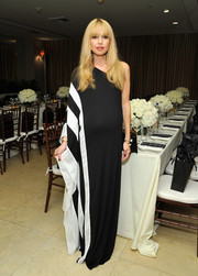 Rachel Zoe made pregnancy look so divine in this black-and-white one-shoulder gown of her own design during the relaunch of 'The Zoe Report.'