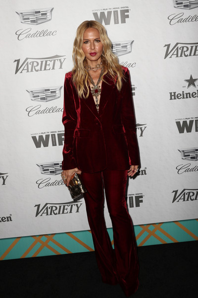 Rachel Zoe Metallic Clutch [variety and women in film,variety and women in films 2018 pre-emmy celebration,suit,clothing,red,carpet,red carpet,formal wear,hairstyle,fashion,pantsuit,outerwear,rachel zoe,arrivals,west hollywood,california,cecconi,2018 pre-emmy celebration]