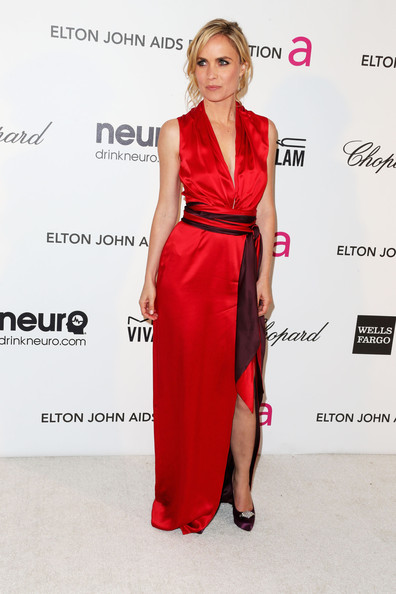Radha Mitchell Evening Dress [clothing,dress,fashion model,shoulder,red,fashion,carpet,cocktail dress,hairstyle,joint,arrivals,radha mitchell,california,los angeles,elton john aids foundation,oscar viewing party]