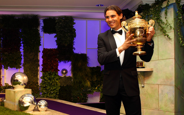Rafael Nadal Tuxedo [trophy,award,suit,world,winners,rafael nadal,ball,trophy,spain,england,london,intercontinental park lane hotel,wimbledon championships,winners ball]
