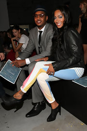 La La Anthony's multicolored print pants were a fun complement to her edgy jacket and boots at the Rag & Bone fashion show.