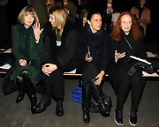 Grace Coddington attended the Rag & Bone Fall 2013 fashion show wearing stylish black oxfords.