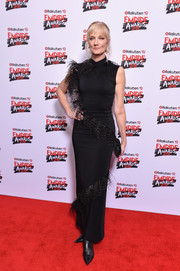 Joely Richardson got glammed up in a fitted black Christopher Kane dress with feather detailing for the Rakuten TV Empire Awards 2018.