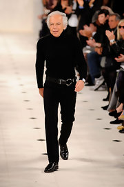Ralph Lauren paired his all black look with a leather belt.