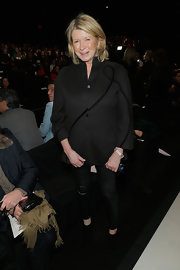 Martha Stewart kept her look clean and simple with black skinny pants while attending the Ralph Rucci runway show.