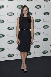 Victoria Pendleton chose classic black patent leather pumps to pair with her equally timeless LBD.