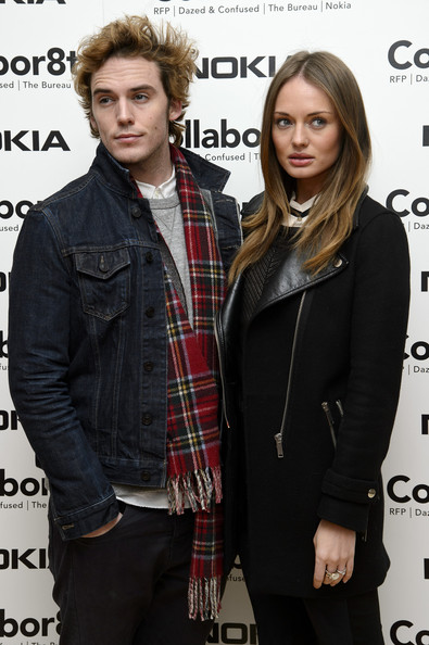 More Pics of Sam Claflin Denim Jacket (1 of 2) - Sam Claflin Lookbook - StyleBistro [collabor8te,hairstyle,plaid,outerwear,fashion,tartan,premiere,jacket,design,long hair,pattern,arrivals,sam claflin,rankin,laura haddock,l-r,london,rankin collabor8te,nokia,premiere]