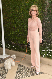 Jane Fonda went for easy elegance at the Rape Foundation's annual brunch in a blush-colored Elie Saab jumpsuit featuring a beaded, sheer-panel bodice.