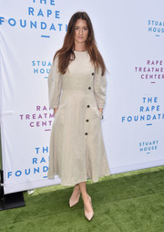 Grace Gummer attended the Rape Foundation brunch wearing a simple nude midi dress.