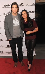 Demi Moore was right on trend in a pair of sleek black leather leggings at the 'Real Men Don't Buy Girls' launch party.