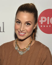 Whitney Port layered her rhinestone necklace and gold studded choker for the Chrysalis Charity Benefit.