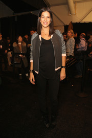 Rebecca Minkoff was sporty-chic in a tricolor track jacket during her fashion show.