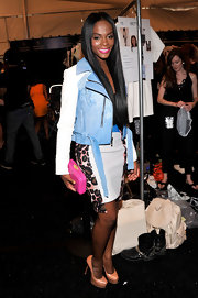 Tika Sumpter pulled her busy look together with a pair of nude platform pumps at the Rebecca Minkoff fashion show.