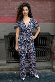 Camila Alves was breezy-chic in a printed jumpsuit while attending the Rebecca Minkoff fashion show.