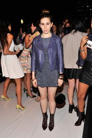 Zosia Mamet stepped out in fierce black cutout boots at the Rebecca Minkoff fashion show.