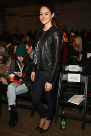 Shailene Woodley's skinny jeans had a unique twist to them with a leather stripe running along the side of them.