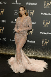 Rita Ora grabbed attention in a nearly-naked mermaid gown by Zuhair Murad Couture at the 2017 Bambi Awards.