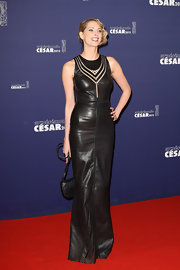Frederique donned a bold leather dress at the Cesar Film Awards.