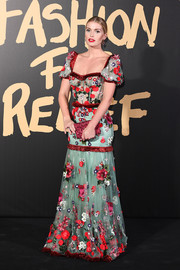 Lady Kitty Spencer looked festive in a floral-embroidered corset gown by Dolce & Gabbana at the 2019 Fashion for Relief London.