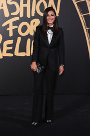 Alessandra Mastronardi went the masculine-chic route in a black tuxedo at the 2019 Fashion for Relief London.