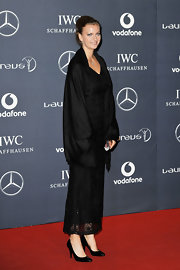 Petra kept her look at the Laureus World Sports Awards demure with a pair of black pumps.