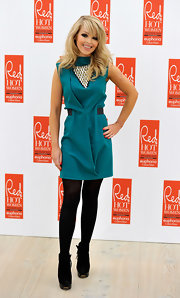 Katie Piper dazzled in a turquoise shift dress with an eye catching beaded neckline at the Red Hot Women Awards.