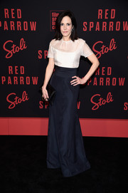 Mary-Louise Parker donned a fitted white Adrian Original blouse with a sheer yoke and sleeves for the New York premiere of 'Red Sparrow.'