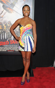 Tika Sumpter matched purple platform pumps with her multicolored dress at the premiere of 'Red Tails.'