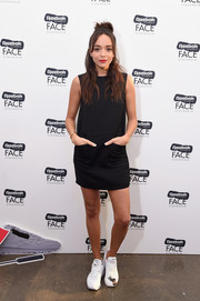 Ashley Madekwe attended the Reebok Classic x FACE Stockholm launch wearing a simple sleeveless LBD by Marni.