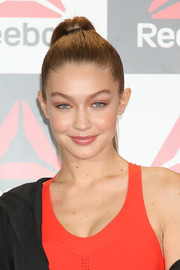 Gigi Hadid wore her hair in a high ponytail at the Reebok talk event.