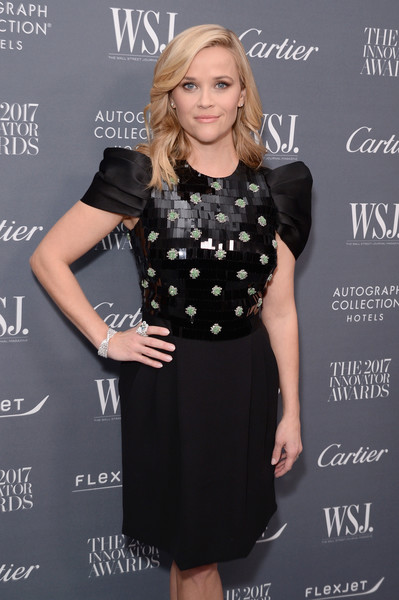 Reese Witherspoon Statement Ring [clothing,dress,black,little black dress,cocktail dress,fashion,blond,design,pattern,polka dot,arrivals,reese witherspoon,2017 innovator awards,new york city,moma,wsj,magazine]