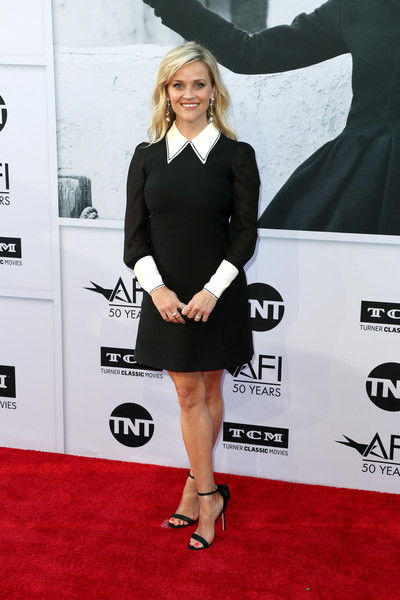 Reese Witherspoon Evening Sandals [red carpet,clothing,carpet,dress,little black dress,cocktail dress,fashion,leg,premiere,footwear,california,hollywood,dolby theatre,american film institutes 45th life achievement award gala tribute,reese witherspoon,diane keaton - arrivals,diane keaton]