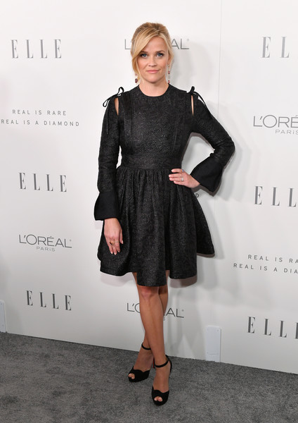 Reese Witherspoon Peep Toe Pumps [little black dress,dress,fashion model,footwear,catwalk,flooring,fashion,cocktail dress,shoulder,formal wear,24th annual women in hollywood celebration,calvin klein,arrivals,reese witherspoon,real is rare,los angeles,four seasons hotel,elle,loreal paris,real is a diamond]