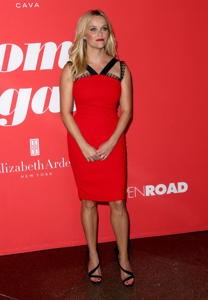 Reese Witherspoon Strappy Sandals [home again,cocktail dress,clothing,dress,shoulder,red,fashion model,premiere,joint,carpet,fashion,arrivals,reese witherspoon,california,los angeles,open road films,directors guild of america,premiere,premiere]