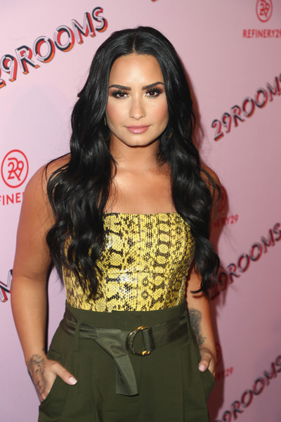 More Pics of Demi Lovato Pumps (6 of 9) - Heels Lookbook - StyleBistro [photo,hair,clothing,hairstyle,long hair,black hair,brown hair,eyelash,ringlet,premiere,dress,demi lovato,caption,los angeles,refinery29 29rooms,29rooms,row dtla,refinery29,getty images,turn it into art opening night party]