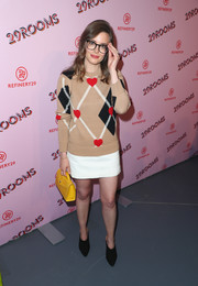 Gillian Jacobs donned an adorable argyle heart sweater by MSGM for the Turn It Into Art opening night party.