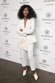 Solange Knowles donned an architectural-detailed white pantsuit for the 29Rooms event.