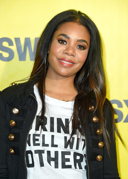 Regina Hall Long Center Part [support the girls premiere,hair,hairstyle,black hair,long hair,cool,layered hair,brown hair,style,regina hall,austin,texas,zach theatre,festivals,sxsw conference,premiere]