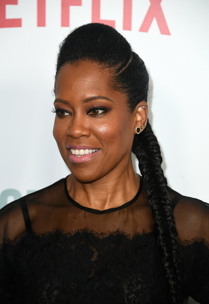 Regina King Long Braided Hairstyle [hair,hairstyle,black hair,eyebrow,beauty,forehead,lip,long hair,smile,eyelash,arrivals,regina king,california,beverly hills,the paley center for media,netflix,seven seconds,premiere,premiere]