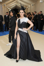 Celine Dion went rocker-glam in a high-slit black-and-silver gown by Atelier Versace at the 2017 Met Gala.