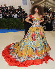 Zendaya Coleman was bold with her colors, prints, and silhouette in this Dolce & Gabbana Alta Moda off-the-shoulder ball gown at the 2017 Met Gala.