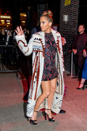 Jennifer Lopez mixed her patterns so chicly with this Valentino beaded mini and fur coat combo.