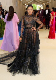 La La Anthony caught stares in a sheer, vein-patterned gown by Thai Nguyen Atelier at the 2017 Met Gala.