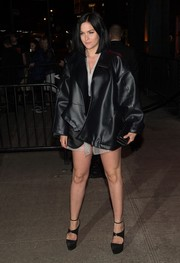 Leigh Lezark went majorly edgy in an oversized black leather jacket for the Met Gala after-party.