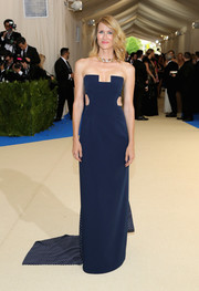 Laura Dern went the modern route in a strapless blue cutout gown with a polka-dot train at the 2017 Met Gala.