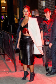 Tracee Ellis Ross styled her look with a pair of textured ankle boots.