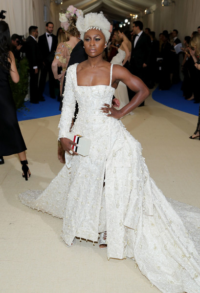 Cynthia Erivo was Marie Antoinette gone modern in this asymmetrical white corset gown by Thom Browne at the 2017 Met Gala.